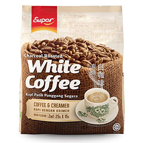 - 10 Packs SUPER Charcoal Roasted White Coffee Flavor Coffee & Creamer 2 in 1 Instant Coffee (4 pack x 15 sachets) Imported from Malaysia