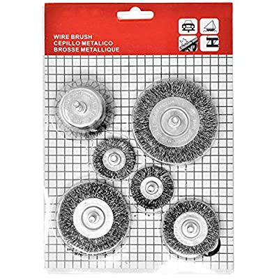 """Toolman Crimped Wire Wheel Cup Brush Set Universal Fit 6pc Set 1/4"""" for Power Drill Works with DeWalt Makita Ryobi"""