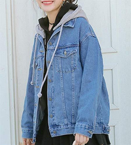 Elégante Automne Battercake Button Coat Printemps Blouson Jean Blau Poches Femme Manches Vestes Casual Confortable Denim Outerwear Gaine Dame Mode Capuche Longues A Avec ffOgwtq