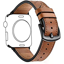 Zeiger 42mm Apple Watch band iWatch Leather Replacement Bands straps for series 1 2 3 dressy classic buckle Men (42mm, Brown)