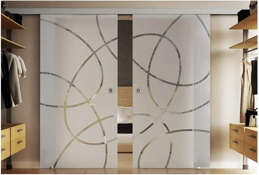 Puertas correderas de cristal en el interior de 2 x 77,5 x 205 cm en vidrio templado-vidrio esmerilado con vertical (T) Levidor tira EasySlide-sistema completo. Con carril de moluscos y asas, puerta