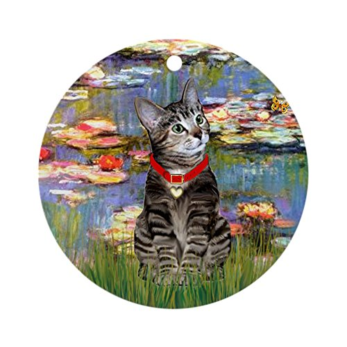 CafePress Tabby Tiger Cat in Lilies Ornament (Round) Round Holiday Christmas Ornament
