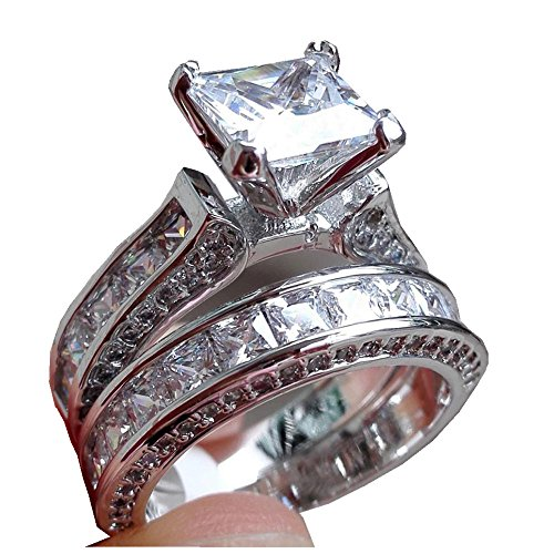Date Solitaire Ring (Ring,Vibola 2-in-1 Womens Vintage White Diamond Silver Engagement Wedding Band Ring Set (Silver, A-6))