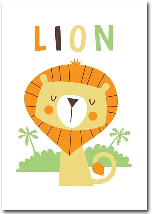 Ylkwl Dessin Anime Animal Lion Tigre Minimaliste Toile Affiche