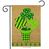 st patricks outdoor flags - Potted Shamrock Burlap Garden Flag St. Patrick's Day 12.5