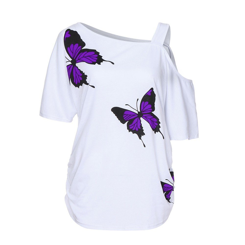 ZOMUSAR Women Butterfly Printing Crop Cold Shoulder Top Shirt Blouse Cami Tops Plus Ladies Short Blouse