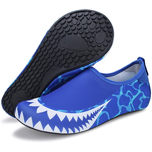 Barerun Women Men Swim Water Shoes Barefoot Aqua Socks Shoes for Beach Pool Surfing Yoga Blue 4.5-5.5 B(M) US