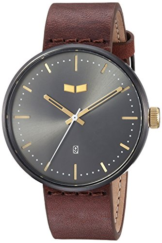 Vestal 'Roosevelt Italian' Quartz Stainless Steel and Leather Dress Watch, Color:Brown (Model: RS42L09.BR)