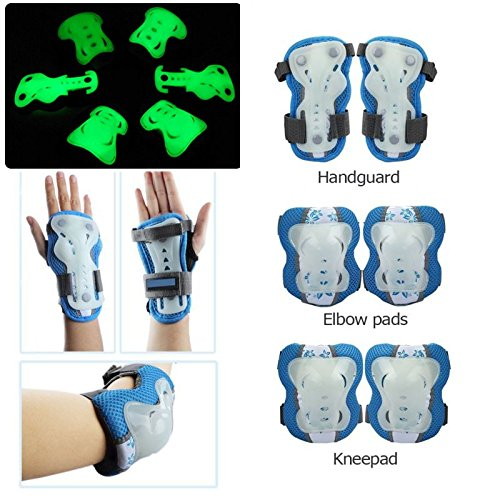 MIGAOKAIQI Kid's Protective Gear Set Protection 6pcs Elbow Knee Wrist Pads for Kids BMX/Skateboard/Scooter/Skate 2-12 Years C Glow in the Dark for Safety for $<!--$16.98-->