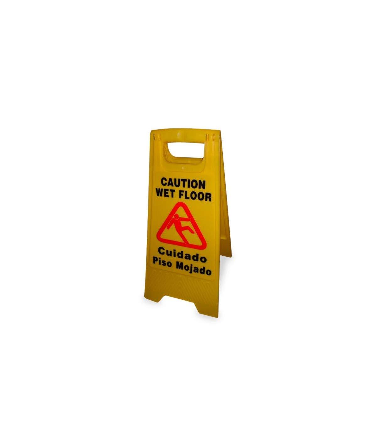 Cartel de advertencia suelo mojado, señal de aviso piso mojado