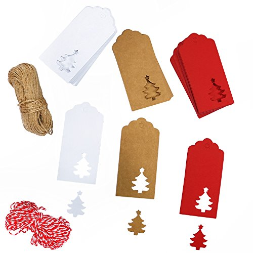 Coobey 150 Pieces Christmas Kraft Tags Kraft Paper Gift Hang Labels Christmas Decoration Tree Design with 30 Meters Twine for Craft DIY Arts and Christmas Favor Party (Mix-Color)
