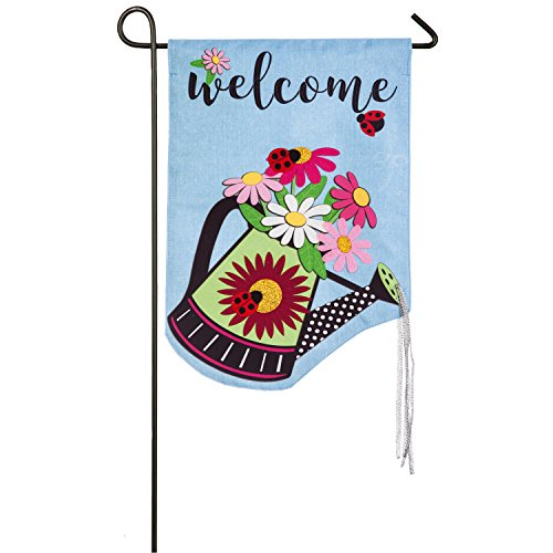 (Evergreen Watering Can Welcome Linen Garden Flag, 12.5 x 18 inches)