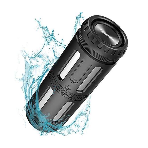 Enceinte Bluetooth Portable, avec Lampe Torche LED, 5200mAh Powerbank, 30H en Lecture, Basses Puissantes, IPX67 Waterproof, Mains Libres Téléphone, Enceintes Bluetooth sans Fil pour Camping, Cyclisme 1