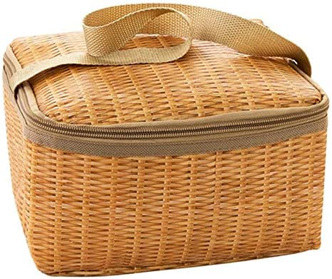 Lipiy Tragbare Lunchbox Wärmeisolator Lebensmittelkühler Leinwand Nachahmung Rattan Lunchbox Picknick Materialbehälter Picknick