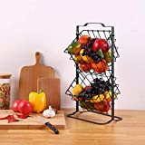 2 Tier Fruit Basket Metal Fruit Storage Basket