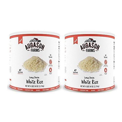 Augason Farms Long Grain White Rice 4 lbs 14 oz No. 10 Can (2 cans) by Augason Farms