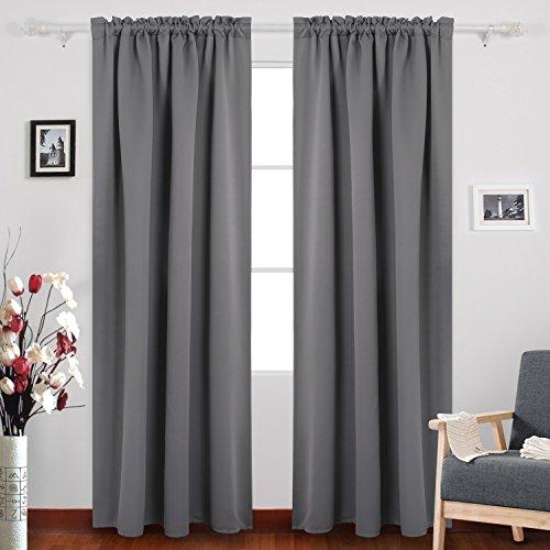 Deconovo Dark Grey Blackout Curtains Rod Pocket Curtain Pane