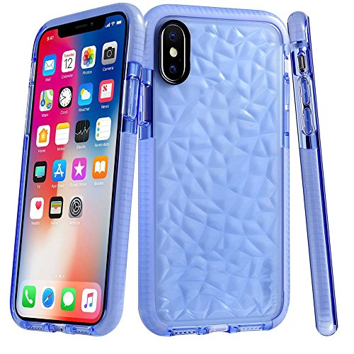 Price comparison product image Boofab iPhone X Case,  Shock proofing Ultra Thin Slim Fit Flexible Soft TPU Transparent Crystal Clear Cover Case for Apple iPhone X (blue)