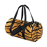 JIUMEI Skin Tiger Stripes Fur Striped Lightweight Canvas Sports Bag Travel Duffel Yoga Gym Bags Shoulder Bag for Women Men Girls Boys