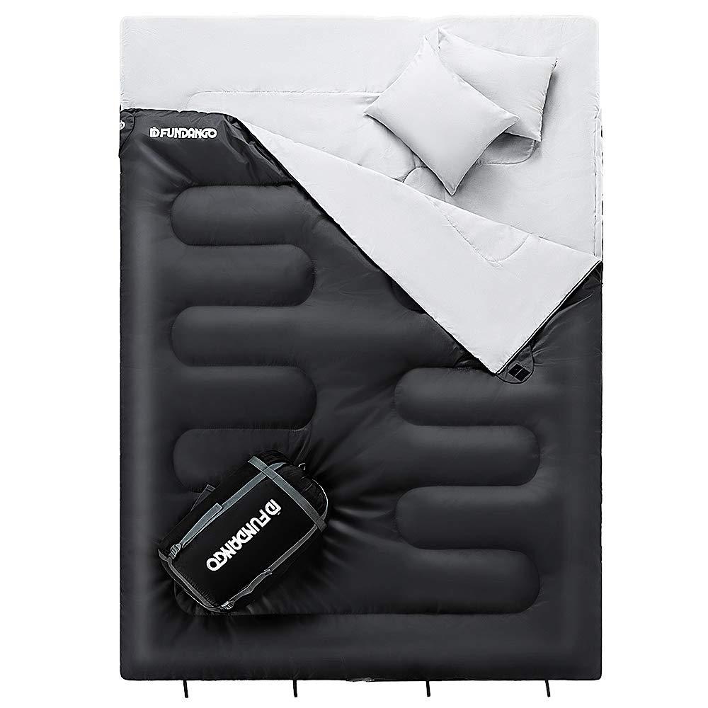 Fundango Sac de couchage double pour 2 personnes adultes Enveloppe Compact Imperm/éable Chaud Confort 17 /°C pour le camping randonn/ée randonn/ée XL avec sac de compression et 2 oreillers