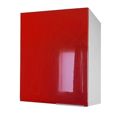 Berlioz Creations CP6HR Meuble Haut de Cuisine avec Porte Rouge Haute Brillance 60 x 34 x 70 cm