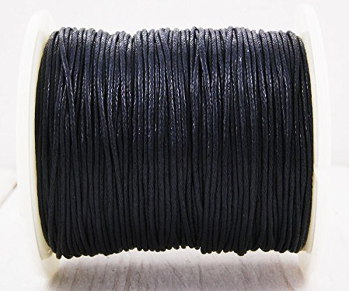 18.3m 60ft 20yrd Black Gray Waxed Cotton Cord Decorative Beading String Braided Twisted Rope Shamballa Bracelet Twine 1mm .039in