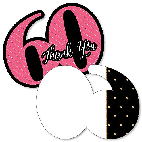 Chic 60th Birthday - Pink, Black and Gold - Shaped Thank You Cards - Birthday Party Thank You Note Cards with Envelopes - Set of 12