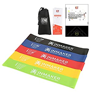 INMAKER Resistance Bands, Exercise Loop Bands for Legs and Butt, Set of 5, Free Workout EBook, Manual and Carry Bag, 2 Optional Levels