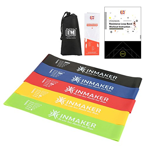 INMAKER Resistance Bands, Exercise Bands for Legs and Butt, Set of 5 Loops with Workout EBook, Carry Bag, Online Videos and Manual