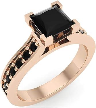 anillo de oro rosa con diamante negro cuadrado