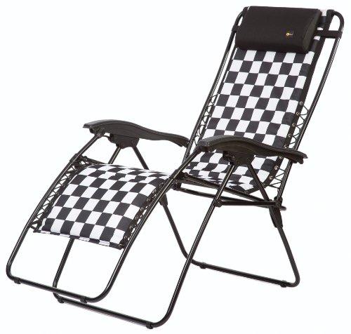 Faulkner 48969 Malibu Style Checkered Flag Padded Recliner with Plastic Armrests, Standard ()