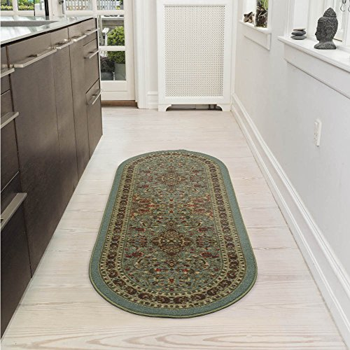 Ottomanson Ottohome Persian Heriz Oriental Design Area Rug with Non-Skid Rubber Backing, Sage Green/Aqua Blue, 2' X 5' Oval (Green Blue Rugs)