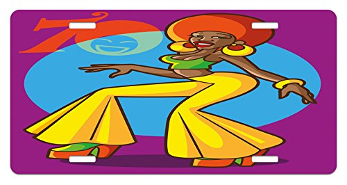 70s Party License Plate by Ambesonne, African American Woman Dancing at the Disco Funky Fashion with Smiling Face Art, High Gloss Aluminum Novelty Plate, 5.88 L X 11.88 W Inches, Multicolor 1970s Disco Fashions