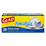 Glad ForceFlex Quick-Tie Medium Trash Bags - 8gal - 1.66ft Width x 1.66ft Length x 0.7mil Thickness - White - 26 / Box - Office, School, Day Care, Garbage - Unscented