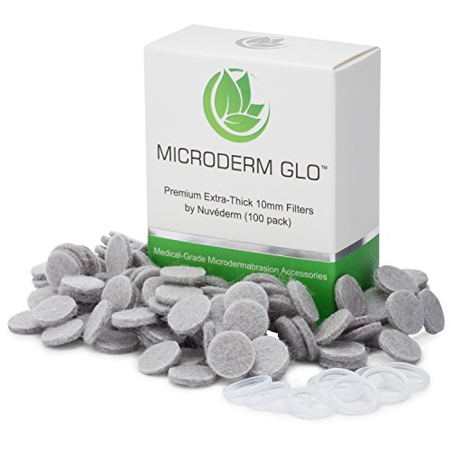 Microderm GLO Premium Extra-Thick 10mm Filters by Nuvéderm (100 pack) - Medical Grade Microdermabrasion Accessories with Patented Safe3D Technology, FDA Approved, Safe for All Skin Types. ()