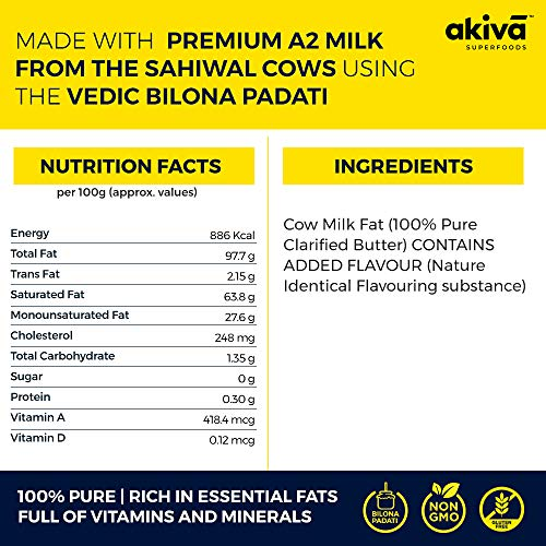 A2 Cow Ghee from Grass-Fed Desi Sahiwal Cow's Milk, 350ml – Vanilla Flavour – Made from Curd by Traditional Vedic Bilona Padati (Method) – Non-GMO – Gluten-Free – For Paleo & Keto Friendly Diet by Akiva Superfoods