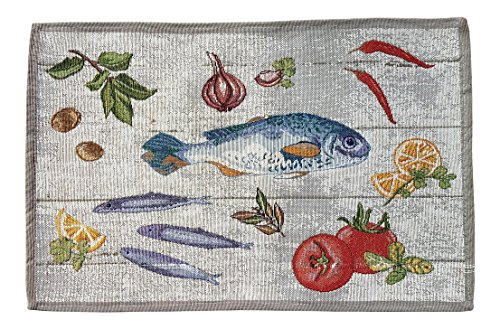 Decorative Fish and Vegetables Tapestry Placemats (Set of 4)