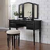 1PerfectChoice Tri Folding Mirror Vanity Set Makeup Table Dresser w/ Stool 5 Drawer Wood Black