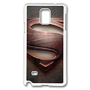 Galaxy Note 4 Case, Creativity Design Man Of Steel Logo Creativity Print Pattern Perfection Case [Anti-Slip Feature] [Perfect Slim Fit] Plastic Case Hard White Covers for Samsung Galaxy Note 4