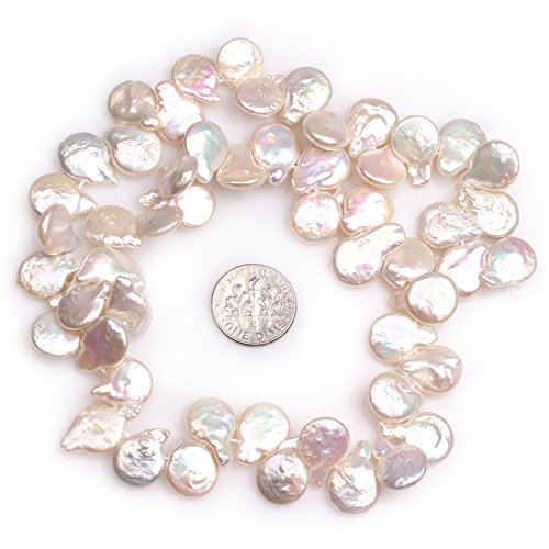 Coin Freshwater Cultured Pearls Beads for Jewelry Making Strand 15'' (15x12mm/top Drilled - 12mm Pearls Coin Pearl Freshwater