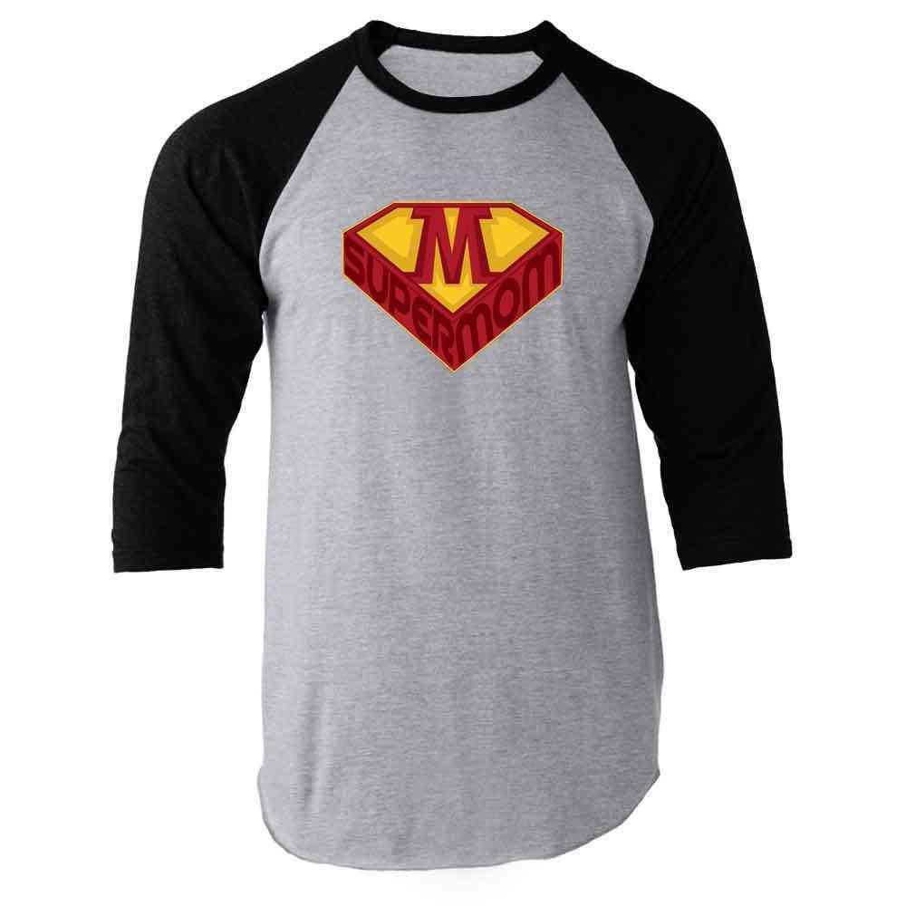 Supermom Superhero Logo Mother's Day Raglan Baseball Tee