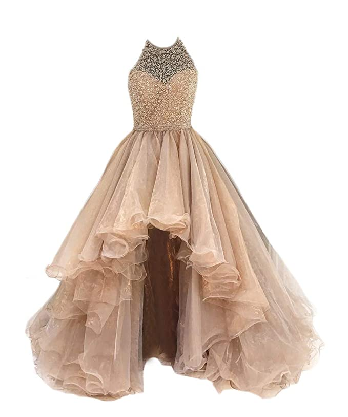 6094fb28eea Amazon.com  TBGirl Women s High Low Beading Champagne Organza Halter Prom  Dresses  Clothing