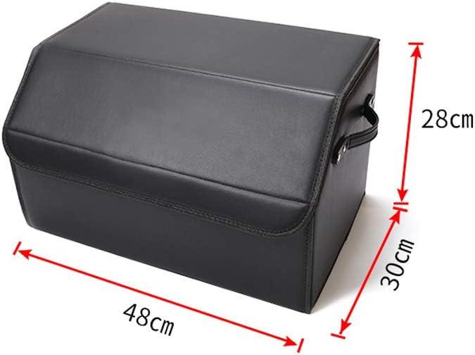 LAUTO Organizador para Maletero De Coche Caja de Almacenamiento Plegable con Separadores con 2 Compartimentos Grandes y Bolsillos Laterales convenientes,Adecuado para Audi Q5 A6L A4 Q7,No1,48cm