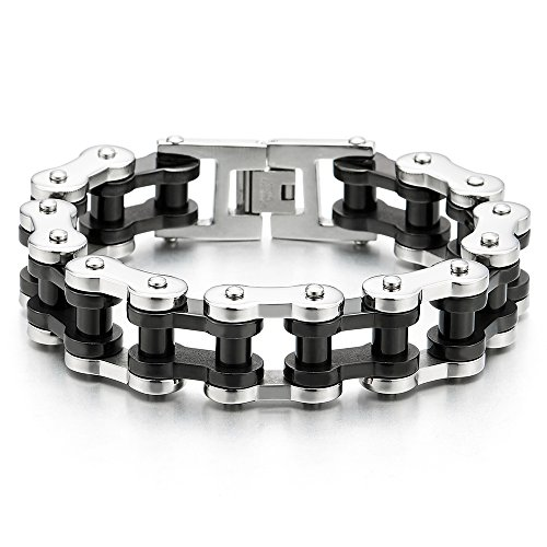 COOLSTEELANDBEYOND Exquisite Mens Large Silver Black Motorcycle Bike Chain Bracelet of Stainless Steel High Polished