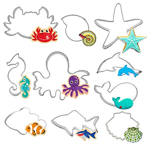(Hangnuo 10 Set Under the Sea Cookie Cutters Stainless Steel, Ocean Creatures Cutter for Biscuit, Fondant, Fruit, Bread)