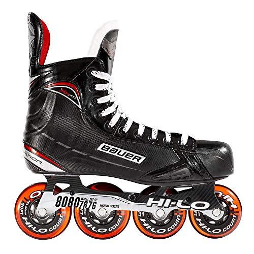 Bauer Inlinehockey Skates XR400 SR 76A Court, Größe wählbar, ABEC 5 Bearing, HI-LO Steel Chassis, Thermoformbar, Anatomical Foam Padding, Microfaser