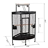 59'' Large Corner Parrot Bird Cage PlayTop Stand Finch Macaws Aviary Pet Supply - Black By Allgoodsdelight365