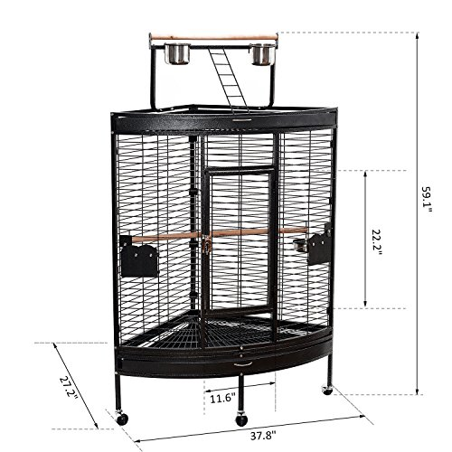 59'' Large Corner Parrot Bird Cage PlayTop Stand Finch Macaws Aviary Pet Supply - Black By Allgoodsdelight365 by allgoodsdelight365