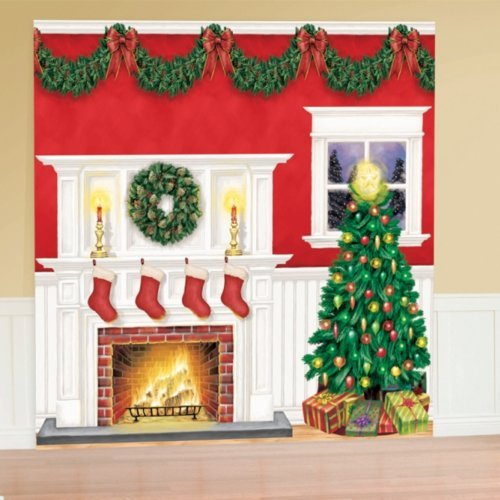 Amscan Very Merry Christmas Party Giant Scene Setters Wall Decorating Kit (6 Piece), One Size, Multicolor