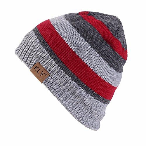 (CHIDY Men Women Baggy Warm Crochet Winter Wool Color Block Stitching Slouchy Caps Hat Unisex)